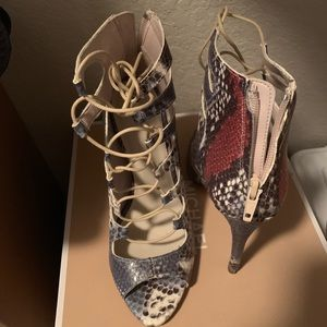 Zara lace up snake skin heels